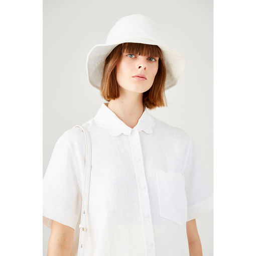 Oroton Scalloped Detailed Linen Camp Shirt in White and 100% Linen for female