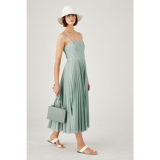 Oroton Sunray Pleated Dress in Mint and 65% Polyester 35% Cotton for female
