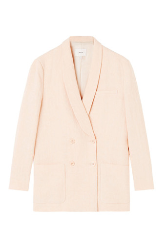 Oroton Linen Double Breasted Blazer in Nougat and 100% Linen for female