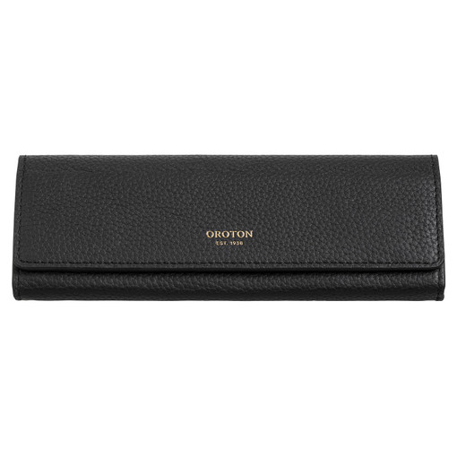 Oroton Margot Sunglasses Case in Black and Pebble Leather for female