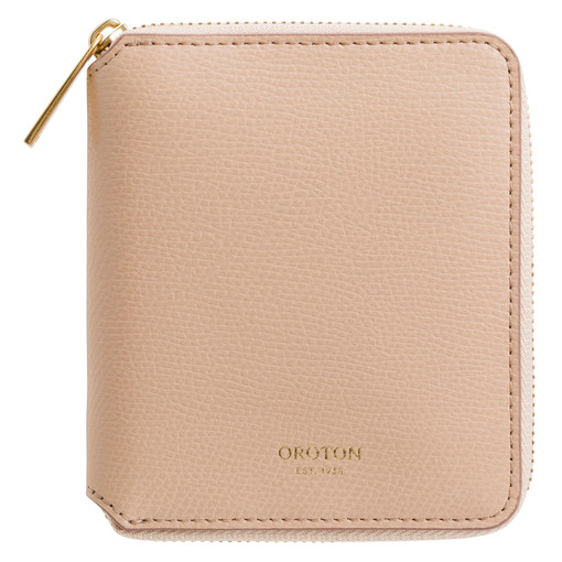 Oroton Muse Small Zip Wallet in Sable and Saffiano And Smooth Leather for female