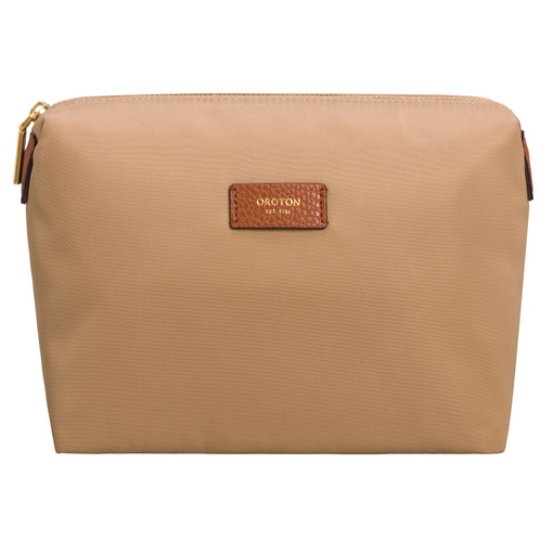 Oroton Ella Medium Pouchette in Chai and Nylon / Pebble Leather for female