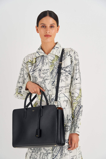 """Oroton Muse 15"""" Worker Tote in Black and Two Tone Saffiano And Smooth Leather for female"""