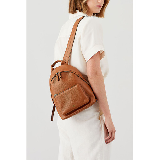 Oroton Avalon Small Backpack in Cognac and Pebble Leather for female