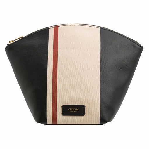 Oroton Maggie Large Beauty Case in Black Mix Stripe and Printed Canvas/Smooth Leather for female