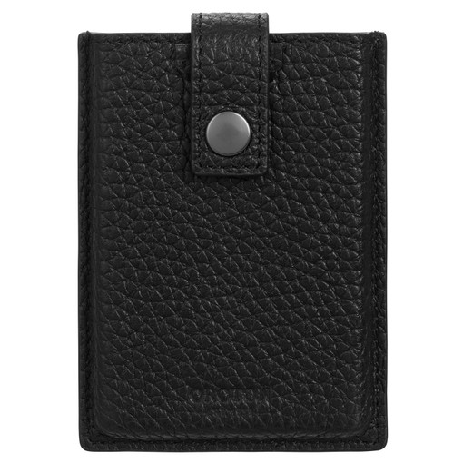 Oroton Duke Tab Card Sleeve in Black and Pebble Leather for male