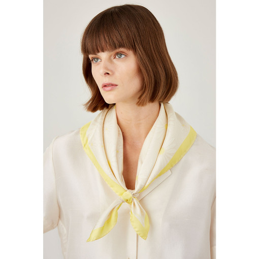 Oroton Daisy Scarf in Lemon and 100% Silk for female