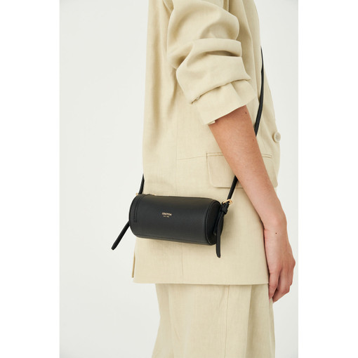 Oroton Margot Tiny Drum Bag in Black and Pebble Leather for female