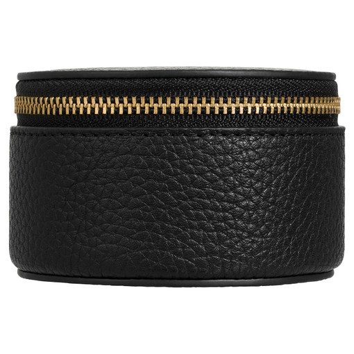 Oroton Eve Mini Circle Jewellery Case in Black and Pebble Leather for female
