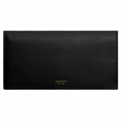 Oroton Venture Soft Fold Wallet in Black and Smooth Leather for female