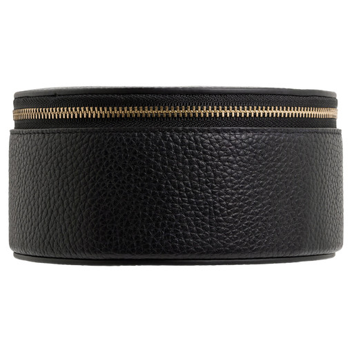 Oroton Eve Circle Jewellery Case And Pouch in Black and Pebble Leather for female