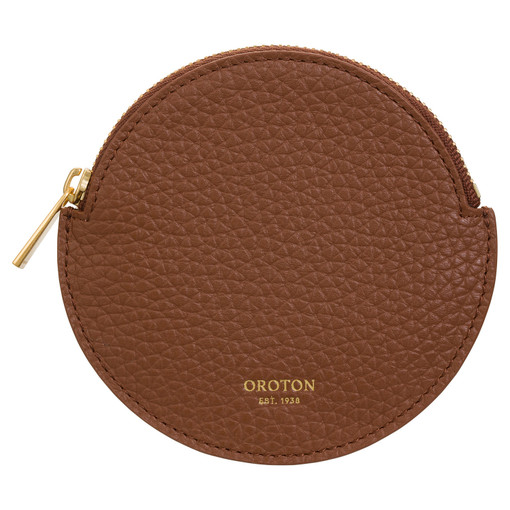 Oroton Eve Circle Coin Pouch in Whiskey and Pebble Leather for female