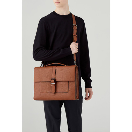 Oroton Duke Briefcase in Whiskey and Pebble Leather for male