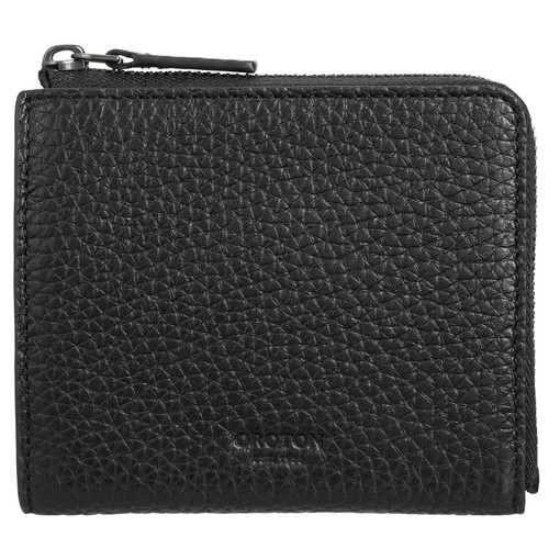 Oroton Duke Side Zip Wallet in Black and Pebble Leather for male