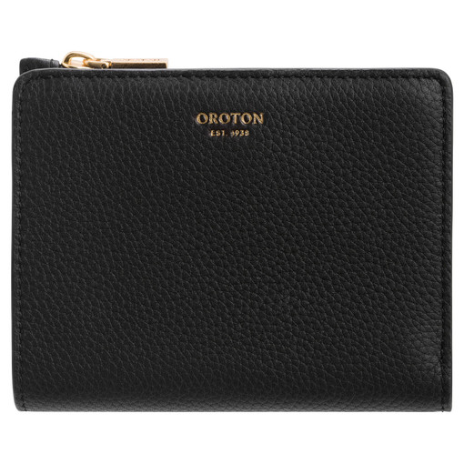 Oroton Margot Mini Fold Wallet in Black and Pebble Leather for female