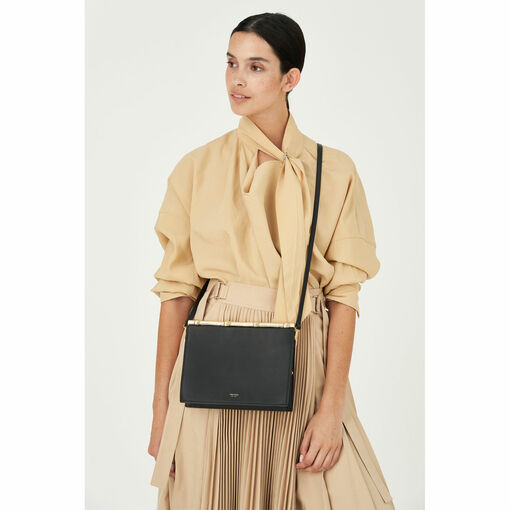 Oroton Grace Square Clutch in Black and Smooth Leather for female