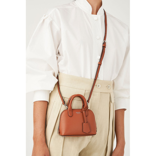Oroton Muse Tiny Griptop in Cognac and Saffiano And Smooth Leather for female