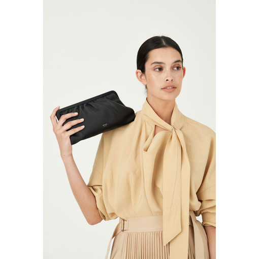 Oroton Celia Long Clutch in Black and Nappa Leather for female