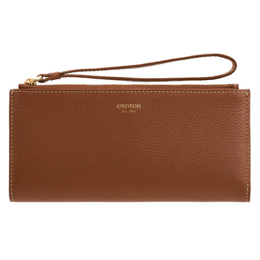 Oroton Margot Wristlet Fold Wallet in Whiskey and Pebble Leather for female