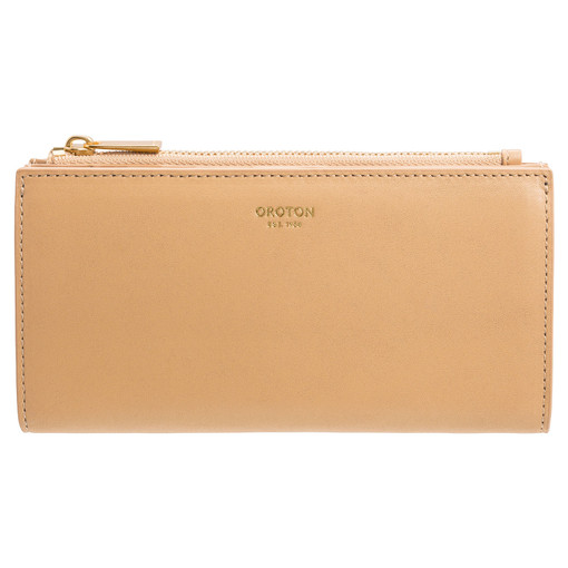 Oroton Ida Slim Zip Wallet in Sand and Smooth Leather for female