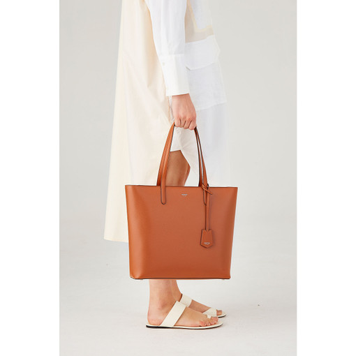 Oroton Muse Square Tote in Cognac and Saffiano And Smooth Leather for female