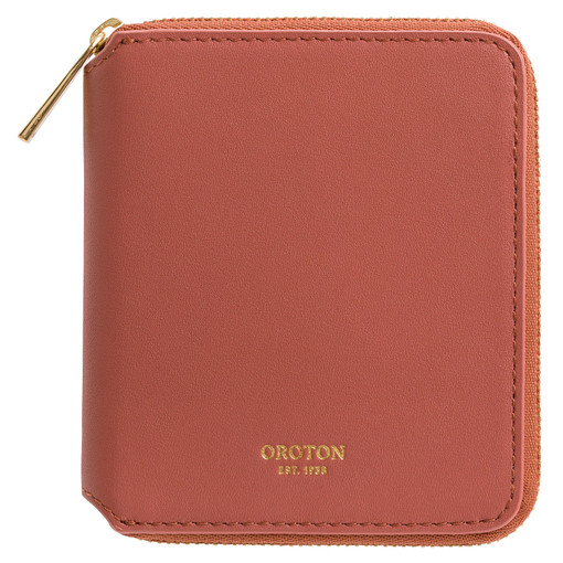 Oroton Maggie Small Zip Wallet in Auburn and Smooth Leather for female