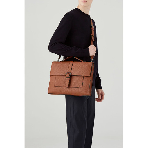 Oroton Duke Laptop Bag in Whiskey and Pebble Leather for male