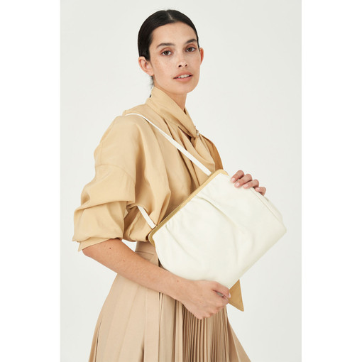 Oroton Celia Day Clutch in Clotted Cream and Nappa Leather for female