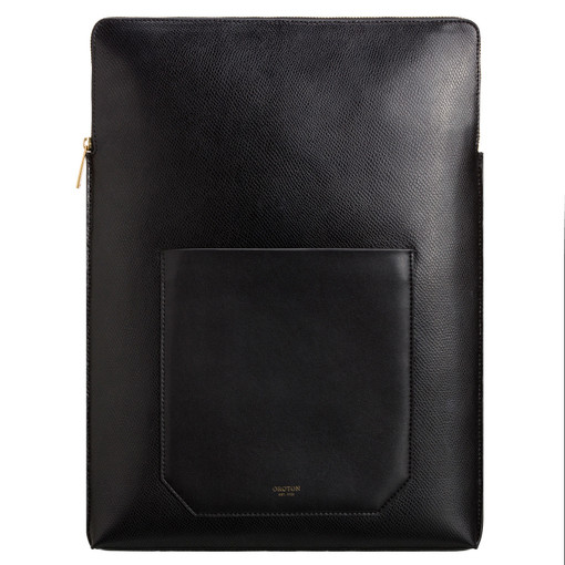 "Oroton Muse 15"" Laptop Sleeve in Black and Saffiano Leather for female"