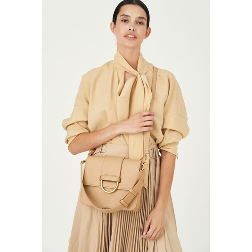 Oroton Ida Satchel in Sand and Smooth Leather for female