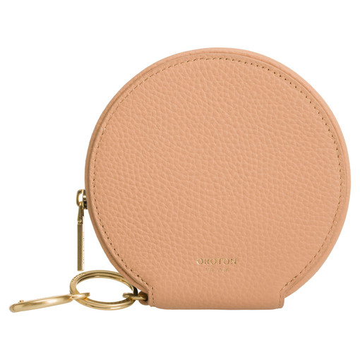 Oroton Capri Circle Wallet in Caramel and Pebble Leather for female