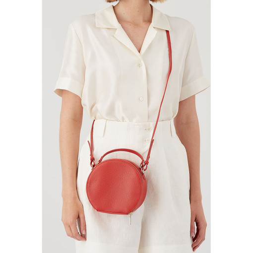 Oroton Capri Circle Crossbody in Poppy and Pebble Leather for female