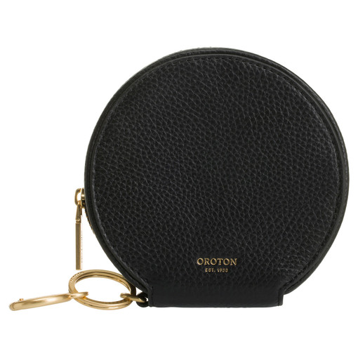 Oroton Capri Circle Wallet in Black and Pebble Leather for female
