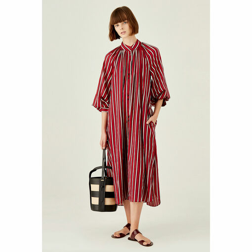 Oroton Long Line Striped Cotton Shirt Dress in Rouge and 100% Cotton for female
