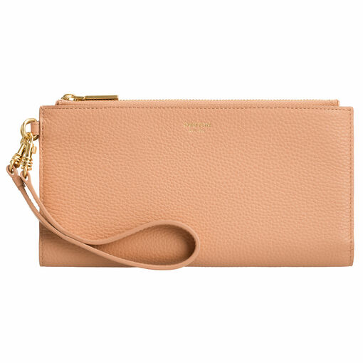 Oroton Capri Travel Wallet in Caramel and Pebble Leather for female