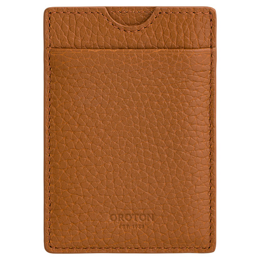Oroton Stanford Money Clip And Credit Card in Cognac and Pebble Leather for male