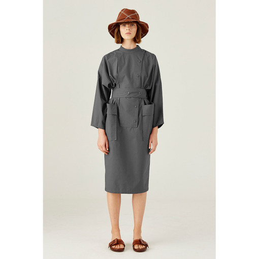 Oroton Cotton Long Sleeve Double Breasted Shirt Dress in Slate and 100% Cotton for female