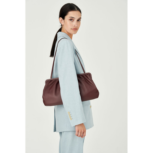 Oroton Celia XL Clutch in Mahogany and Nappa Leather for female