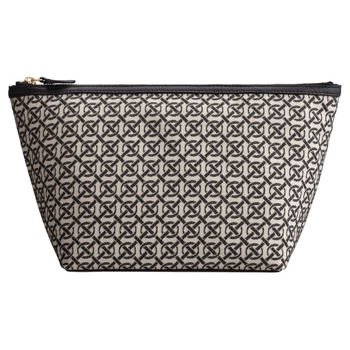 Oroton Celeste Jacquard Large Beauty Case in Black/Natural and Oroton Signature Jacquard/Smooth Leather for female
