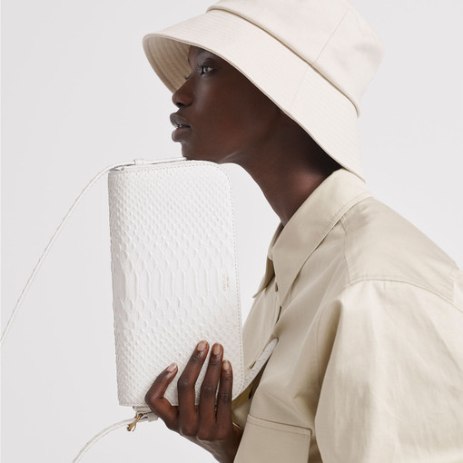 Oroton Muse Texture Baguette Bag in White Texture and Snake Embossed Leather for female