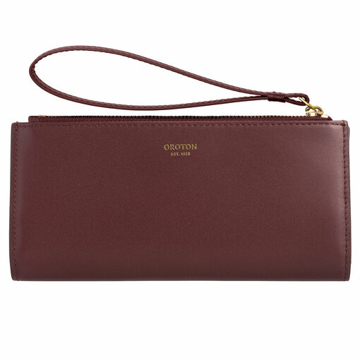Oroton Isla Wristlet Fold Wallet in Mahogany and Smooth Leather for female