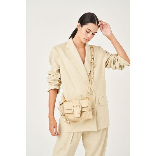 Oroton Frida Mini Satchel in Light Sand and Smooth Leather for female