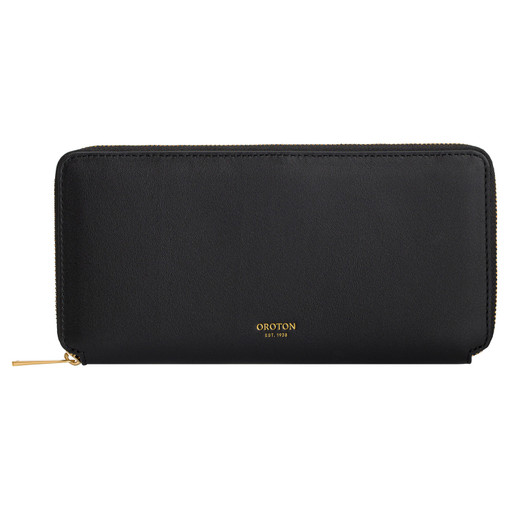 Oroton Mila Slim Book Wallet in Black and Smooth Leather for female