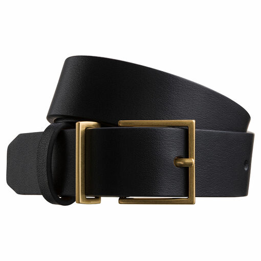 Oroton Cara Narrow Belt in Black and Smooth Leather for female