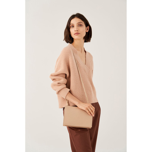 Oroton Duo Crossbody in Latte and Pebble Leather for female