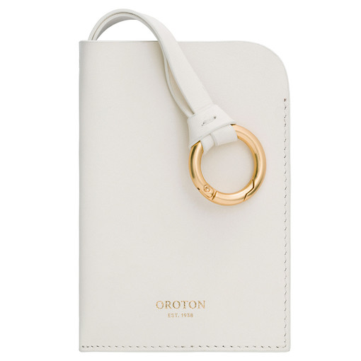 Oroton Emma Key Holder in Cream and Smooth Leather for female
