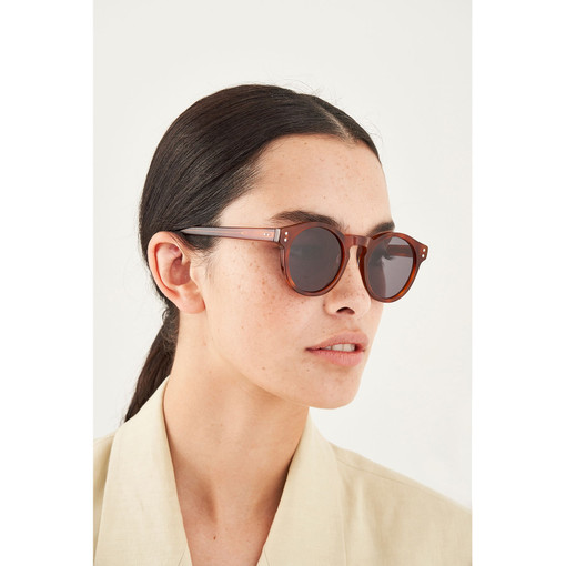 Oroton Cleo Sunglasses in Honey Tort/Green and Acetate for female
