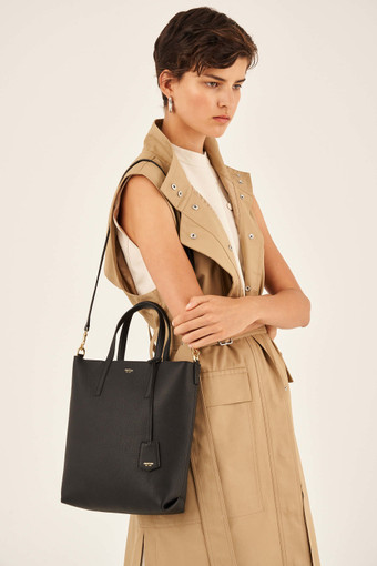 Oroton Duo Small Zip Tote in Black and Pebble Leather for female