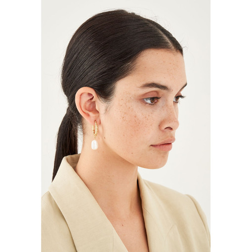 Oroton Aria Drop Hoops in Worn Gold and Brass Base Metal With Precious Metal Plating for female