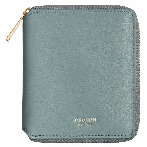 Oroton Isla Small Zip Wallet in Dark Teal and Smooth Leather for female